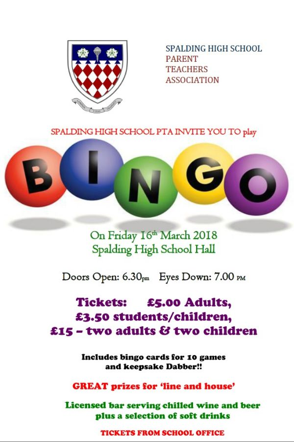 General - SHS Bingo advert