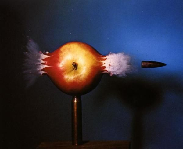 Science - bullet through apple